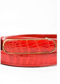 Judith Leiber Pre-owned ¿vintage Red Croc Gold-tone Buckle Adjustable Slide Belt.