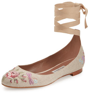 Tabitha Simmons Daria Embroidered Linen Ankle-Wrap Flat, Neutral Pattern