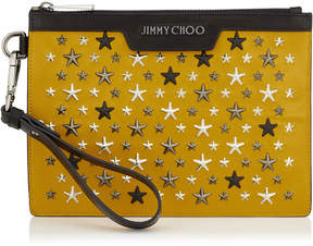 Jimmy Choo DEREK MINI Mustard Leather Clutch with Gunmetal Multi Metal Stars