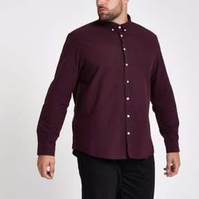 River Island Mens Big and Tall burgundy button-down shirt