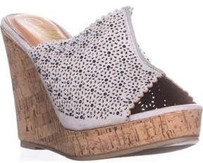 Callisto Lovie Embellished Platform Wedge Sandals, Grey.