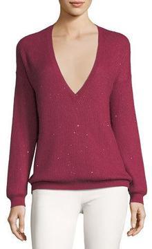 Brunello Cucinelli Cashmere-Blend Micro-Paillette V-Neck Boyfriend Sweater