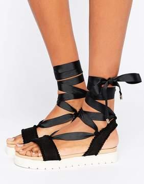 Miss KG Dakota Pom Pom Tie Up Flat Sandals