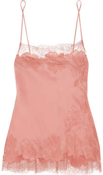 Carine Gilson Chantilly Lace-trimmed Silk-satin Camisole - Antique rose