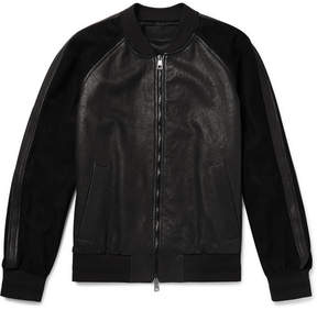 Neil Barrett Appliquéd Leather And Suede Bomber Jacket