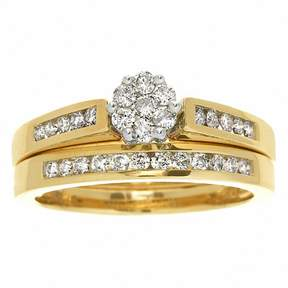 Zales Previously Owned - 1 CT. T.W. Diamond Flower Bridal Set in 10K Gold