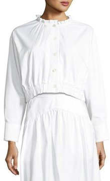 Atlantique Ascoli Lundi Button-Front Elastic-Waist Cotton Poplin Blouse