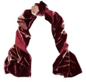 Ralph Lauren Diana Floral Velvet Scarf Red Sangria One Size