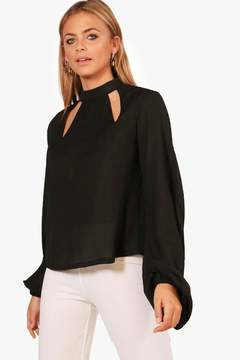 boohoo Cut Out High Neck Blouse