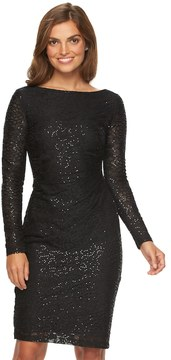 Chaps Women's Lace Sequin Sheath Evening Dress