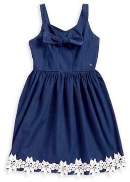 Bebe Girl's Lace-Trimmed Denim Dress