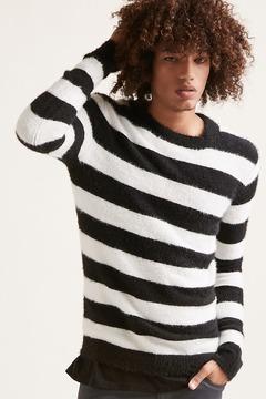 21men 21 MEN Fuzzy-Knit Striped Pullover