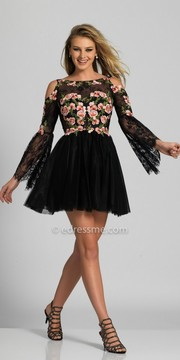 Dave and Johnny Cold Shoulder Floral Lace Fit and Flare Homecoming Dress