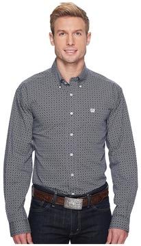 Cinch Long Sleeve Plain Weave Print Men's Long Sleeve Button Up