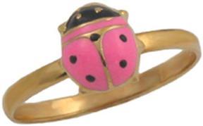 Ice 10K Gold Little Girls Pink Enameled Ladybug Ring (Size 3.5)