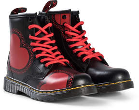 Dr. Martens Black And Red Valentines Hearts Delaney Boots
