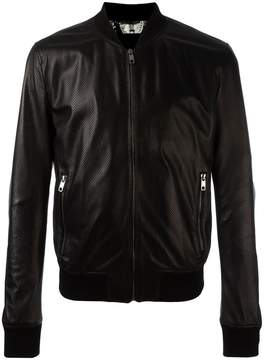 Dolce & Gabbana perforated leather bomber jacket