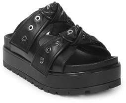 Alexander McQueen Double Strap Leather Slides