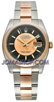 Rolex Oyster Perpetual Datejust 36 Black and rose Dial Stainless Steel and 18K Everose Gold Bracelet Automatic Men's Watch
