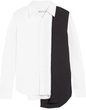 Comme des Garcons Zip-detailed Paneled Pinstriped Cotton Shirt - White