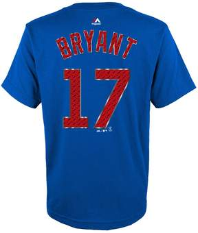 Majestic Boys 8-20 Chicago Cubs Kris Bryant Metal Grid Player Name and Number Tee