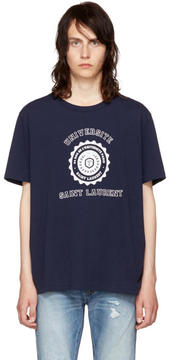 Saint Laurent Navy Université Logo T-Shirt