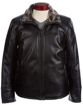 Andrew Marc Faux-Shearling-Collared Pleather Jacket