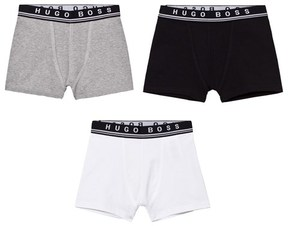 BOSS Pack of 3 Black, White and Grey Branded Boxers