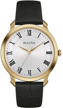 Bulova Classic Mens Black Leather Strap Watch 97A123