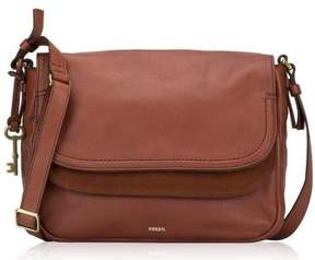 Fossil Peyton Large Double Flap Leather Crossbody Bag 'brown' Msrp $228 ~ Nwt!