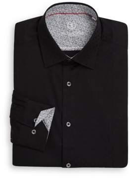 Bugatchi Shaped-Fit Floral-Trim Cotton Dress Shirt