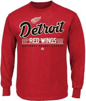 Majestic Boys 8-20 Detroit Red Wings Long-Sleeve Tee