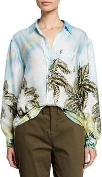 Le Superbe Future Ex Bf Palm Tree Button-Up Shirt