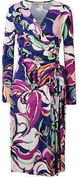 Emilio Pucci Aruba Wrap-effect Printed Stretch-jersey Midi Dress - Midnight blue