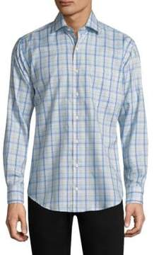 Peter Millar Crown Ease Palazzo Plaid Cotton Shirt