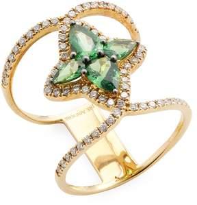 Amrapali Women's Diamond and Green Garnet Ring