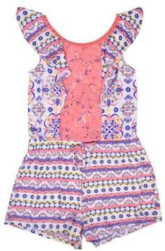 Nannette Little Girls' 4-6X Lace and Ruffle Yummy Knit Romper