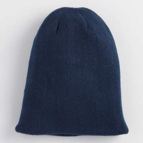 World Market Navy and Teal Reversible Knit Hat