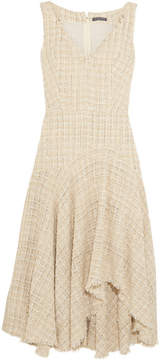 Alexander McQueen Metallic Wool-blend Bouclé-tweed Midi Dress - Ivory