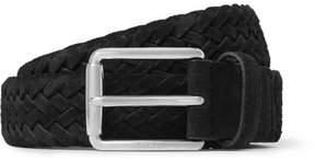 Tod's 3.5cm Black Woven Suede Belt