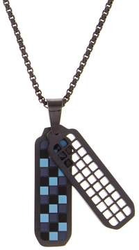 Ben Sherman Stainless Steel Checkerboard Pendant Necklace