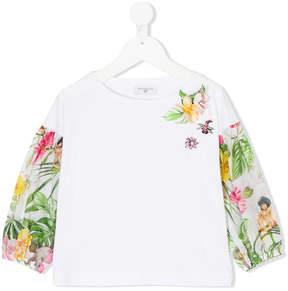 MonnaLisa embellished jungle-print blouse