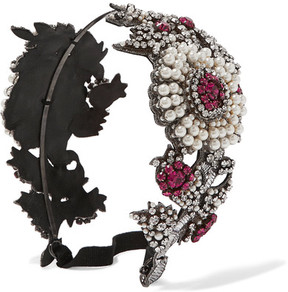 Gucci - Crystal And Faux Pearl-embellished Headband - Fuchsia