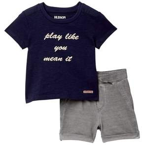 Hudson Sidewalk Cotton Slub Tee & Shorts (Baby Boys)
