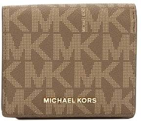 Michael Kors Mocha Signature Canvas Jet Set Travel Logo Card Case - BROWN - STYLE