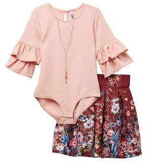 Beautees Ruffle Sleeve Bodysuit, Floral Skirt, & Necklace Set (Big Girls)