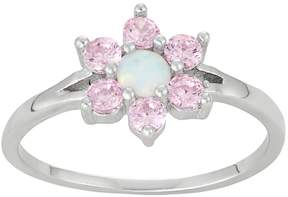 Junior Jewels Kids' Sterling Silver Lab-Created Opal & Cubic Zirconia Flower Ring
