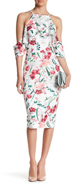 Alexia Admor Floral Cold-Shoulder Midi Dress