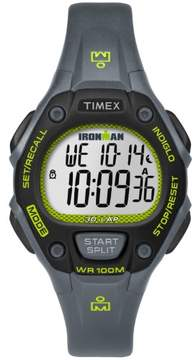 Timex Women's Ironman Classic 30 Mid-Size Gray/Lime Watch, Resin Strap