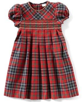 Edgehill Collection Little Girls 2T-6X Plaid Short-Sleeve Dress